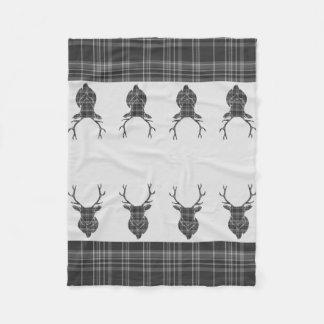 Couverture Polaire Tête rustique Antler de mâle de tartan gris