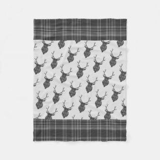 Couverture Polaire Tête rustique de mâle d'Antler de tartan gris