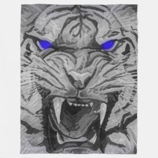 Couverture Polaire Tigre de Bengale blanc de grand chat avec les yeux