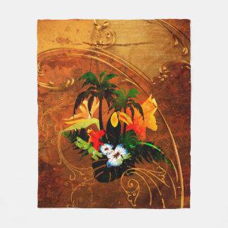 Couverture Polaire Toucan mignon avec des fleurs