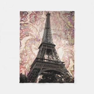 Couverture Polaire Tour Eiffel floral