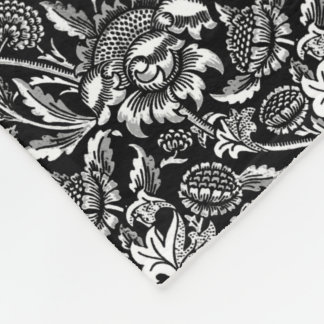 Couverture Polaire Tournesols de William Morris, noirs et blancs