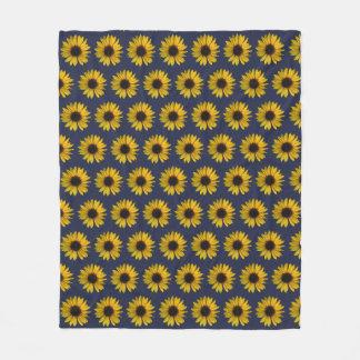 Couverture Polaire Tournesols jaunes lumineux sur le bleu
