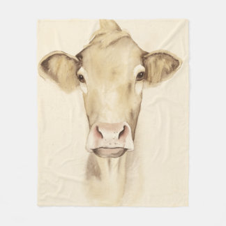 Couverture Polaire Vache aux animaux | de grange d'aquarelle