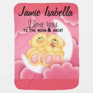 Couverture Pour Bébé aimez-vous à la lune et le dos personnalisent