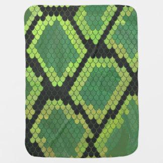 Couverture Pour Bébé Copie noire et verte de serpent
