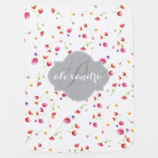 Couverture Pour Bébé Couleur pour aquarelle peinte, tulipes, couverture