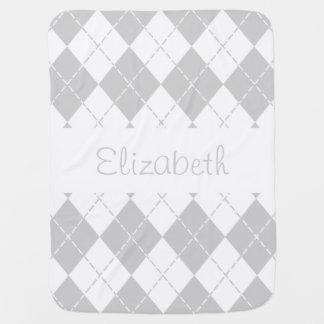 Couverture Pour Bébé Couverture à motifs de losanges grise et blanche