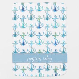 Couverture Pour Bébé Couverture personnalisée de bébé de vert bleu