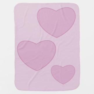 Couverture Pour Bébé Couverture rose de bébé de coeurs
