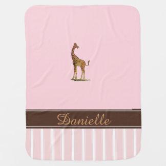 Couverture Pour Bébé Couverture rose de bébé personnalisée par girafe