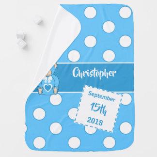Couverture Pour Bébé Date de naissance de bleus layette et de blanc