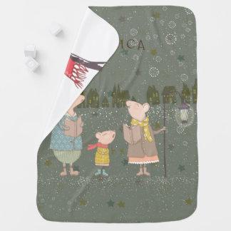 Couverture Pour Bébé Famille de souris de Noël dans une scène de Noël