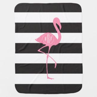 Couverture Pour Bébé Flamant rose décoré d'un monogramme + Noir +