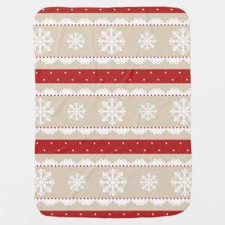 Couverture Pour Bébé Flocons de neige rouges de blanc de pois de Noël