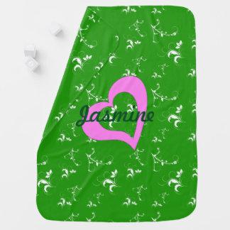 Couverture Pour Bébé Floral vert de baby shower
