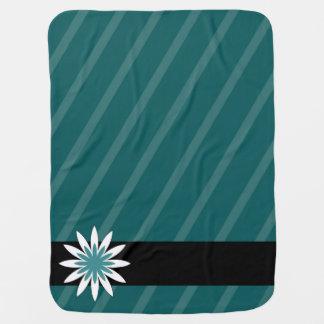 Couverture Pour Bébé La fleur turquoise et blanche barre la couverture