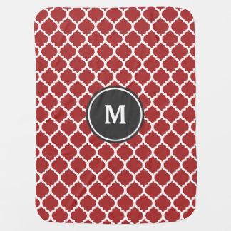 Couverture Pour Bébé Monogramme rouge de Quatrefoil