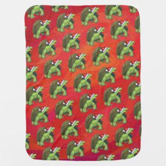 Couverture Pour Bébé Noël de tortue sur le rouge