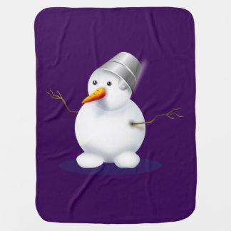 Couverture Pour Bébé Noël pourpre de bonhomme de neige recevant des