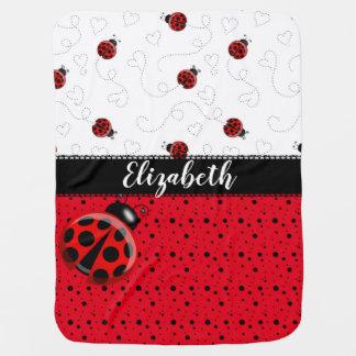 Couverture Pour Bébé Nom noir rouge de scarabées de Ladybird d'insecte