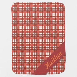 Couverture Pour Bébé Nuances de motif en pastel rouge rouge de tartan