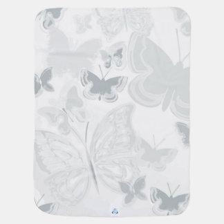 Couverture Pour Bébé Papillons d'aquarelle de blanc gris pilotant le