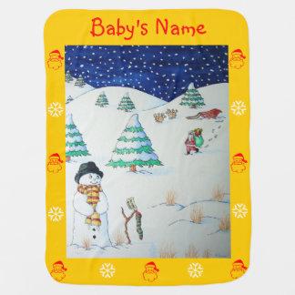 Couverture Pour Bébé père Noël mignon et renne dans la neige livrant