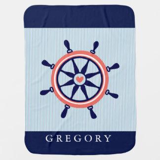 Couverture Pour Bébé Rayures nautiques de roue et de bleus layette de