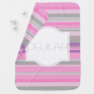 Couverture rayée pourpre et rose de bébés couvertures de bébé