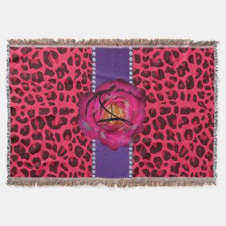 Couverture Rayure rose de pourpre de rose de rose de léopard