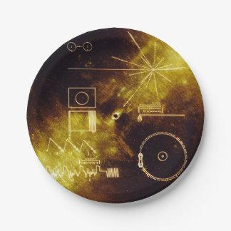 Couverture record d'or de vaisseau spatial de assiettes en papier