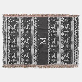 Couverture Renne alpin noir et blanc de motif - monogramme