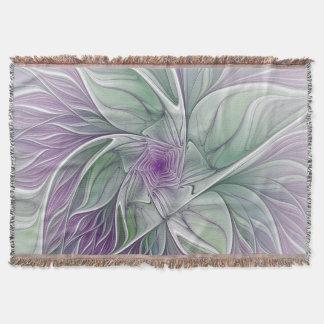 Couverture Rêve de fleur, art vert pourpre abstrait de