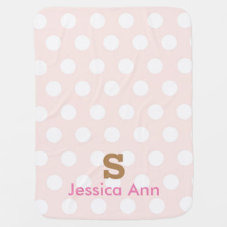 Couverture rose de bébé d'initiale de monogramme couvertures de bébé