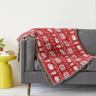 Couverture Rouge mignon de motif de Noël d'éléphants