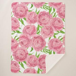 Couverture Sherpa Aquarelle rose de pivoines