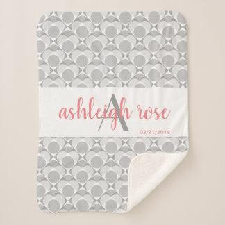 Couverture Sherpa Monogramme, gris géométrique d'amoureux/blanc/rose