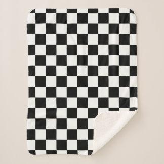 Couverture Sherpa Motif Checkered noir et blanc de damier