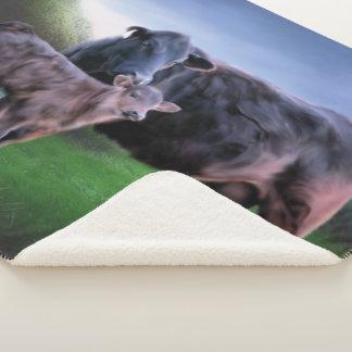 Couverture Sherpa Vache et veau noirs à Angus