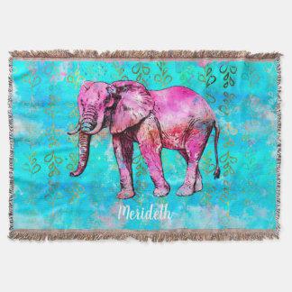 Couvertures À la mode bleu d'éléphant de rose fait sur