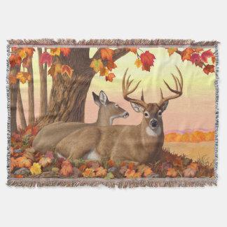 Couvertures Arbre d'érable d'automne de cerf de Virginie