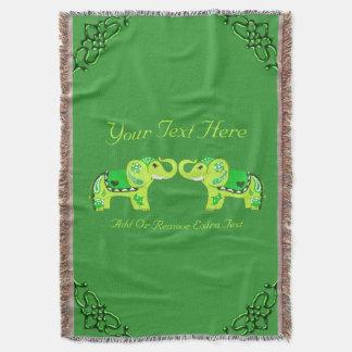 Couvertures Éléphant de henné (vert/vert de chaux)