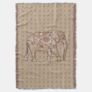 Couvertures Éléphant de remous de fractale, brun de café et