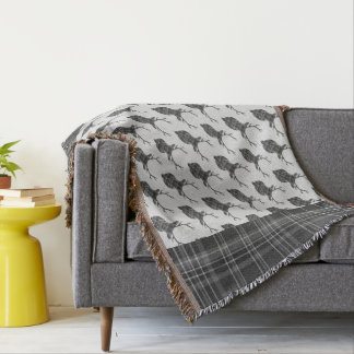 Couvertures Mâles écossais gris rustiques Antler principal de