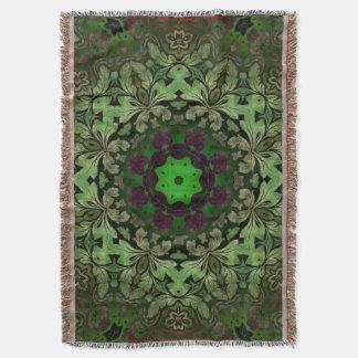 Couvertures Mandala de Bohème rustique de vert forêt de