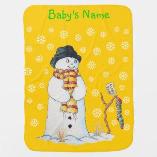 Couvertures Pour Bébé Bonhomme de neige mignon avec le bas de Noël dans