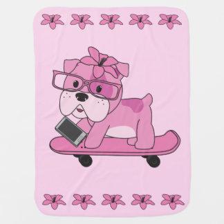 Couvertures Pour Bébé Bouledogue rose de hippie