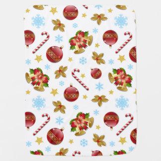 Couvertures Pour Bébé Boules rouges et d'or de Noël, houx de Noël
