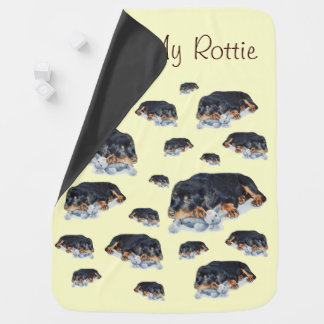 Couvertures Pour Bébé chiot mignon de rottweiler caressant le chien gris